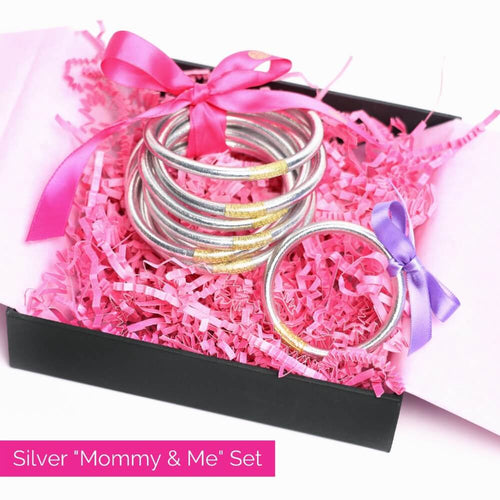 Silver All Weather Bangles and silver baby bangle bundle for mother's day 2021 | BuDhaGirl