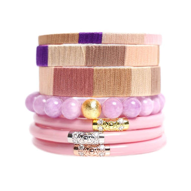 Three Kings Pink All Weather Bangle, FÜCL® Quietude Cuff Set, and Purple Bianca Beaded Bracelet Stacked | BuDhaGirl