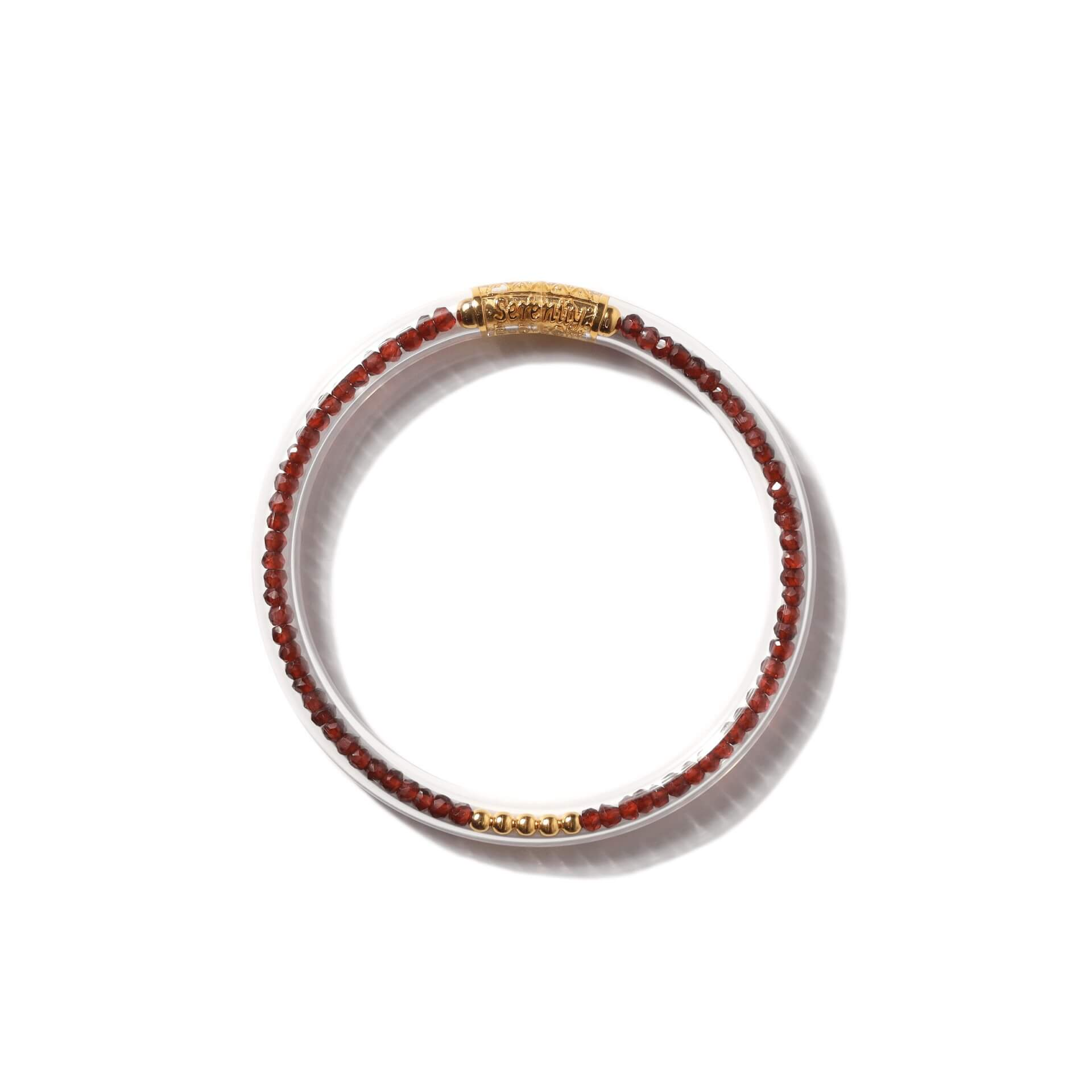 Luxe All Weather Bangle - Red Garnet | BuDhaGirl