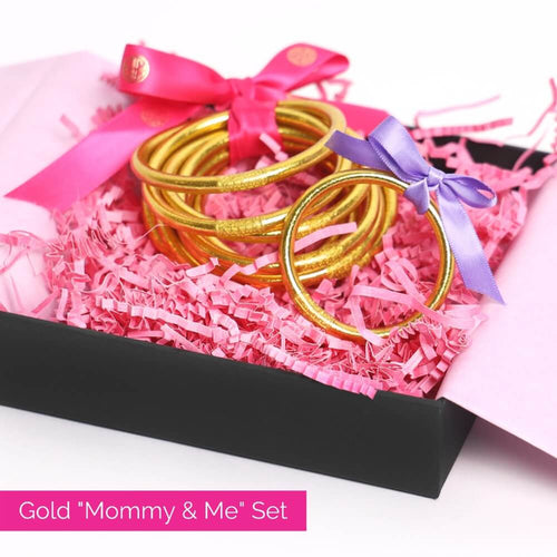Gold All Weather Bangles and gold baby bangle bundle for mother's day 2021 | BuDhaGirl