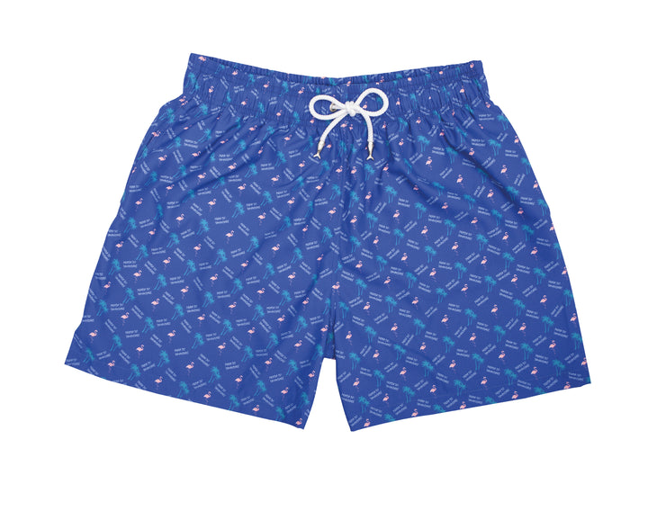 Summer Stories Pantaloneta de Baño para Hombre Color Azul Flamingos