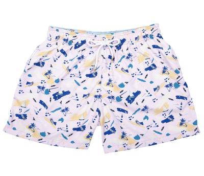 Tropical Painting - Pantaloneta de Baño para Hombre, Cordon Ajustable, Color Rosado Light ( Summer Beach) con Contraste