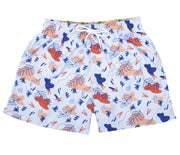 Tropical Painting - Pantaloneta de Baño para Hombre, Cordon Ajustable, Color Lila Light ( Ocean Crustanceas) con Contraste