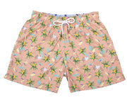 Tropical Painting - Pantaloneta de Baño para Hombre, Cordon Ajustable, Color Salmon Light ( Banana Paradise ) con Contraste