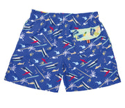 Tropical Painting - Pantaloneta de Baño para Hombre, Cordon Ajustable, Color Azul  ( Tropical Sharks ) con Contraste