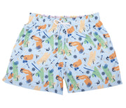 Tropical Painting - Pantaloneta de Baño para Hombre, Cordon Ajustable, Color Azul Sky ( Nautical Blue) con Contraste