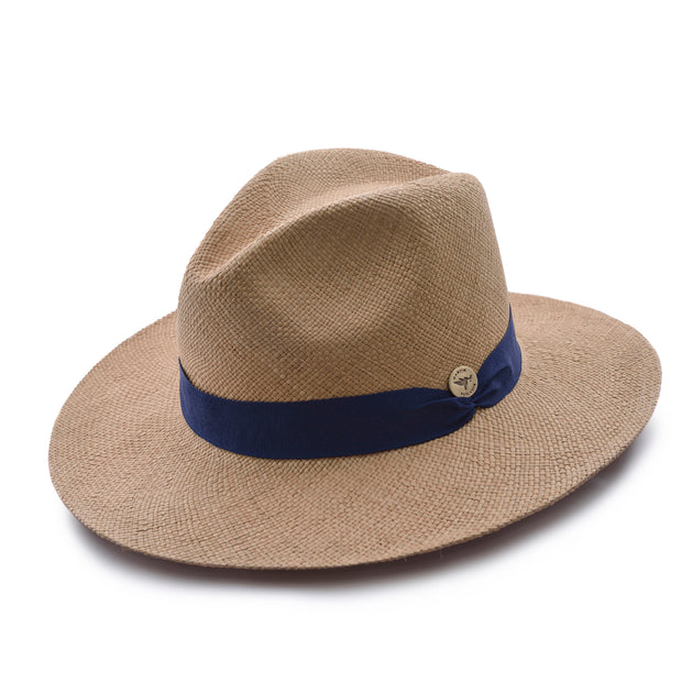 Navy Blue Toquilla Straw Hat