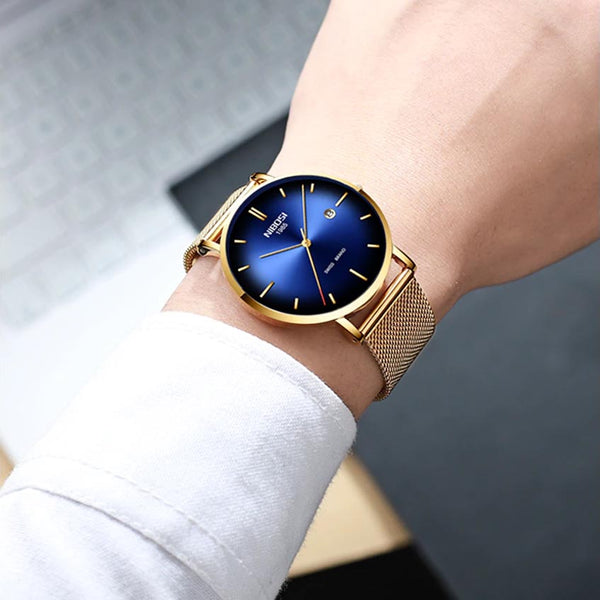 RADIANT quartz watch - blue and gold