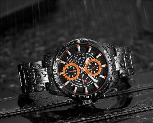 COGS quartz watch - orange splashing water