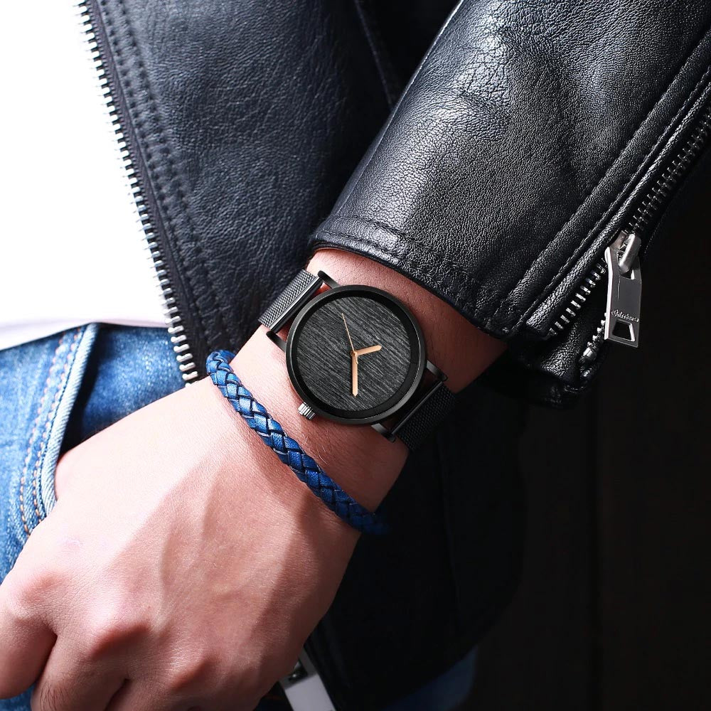 BARK quartz watch - worn by model with leather jacket and bead bracelet