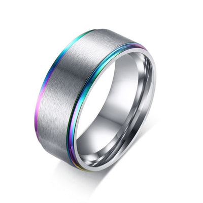 Rainbow Line Stainless Steel Ring
