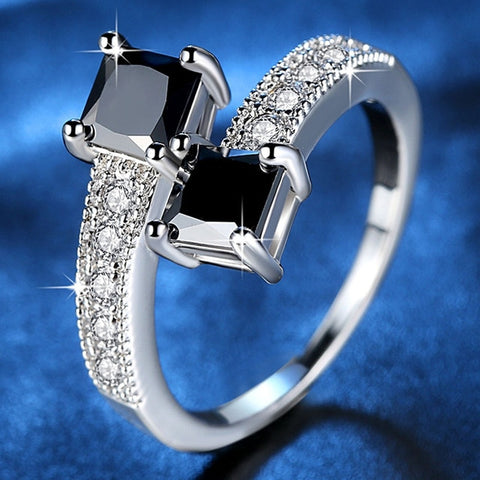 Double Black Stone Ring For Women