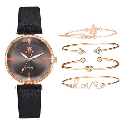 Luxury Leather Band Analog Wristwatch- 5pcs Set Top Style