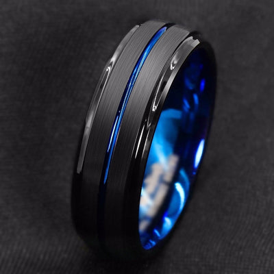 Blue Face Stainless Steel Ring