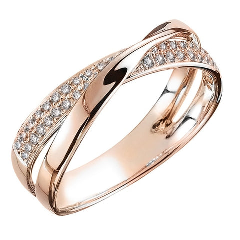 Trendy Two Tone X Shape Cross Ring For Women
