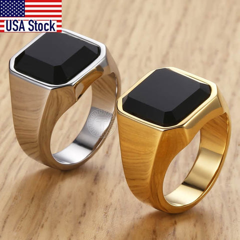 Men's Ring Rock Punk Smooth 316L Stainless Steel Black CZ Gold Silver Color Hip Hop Rings For Men Party Jewelry Wholesale KHRM63