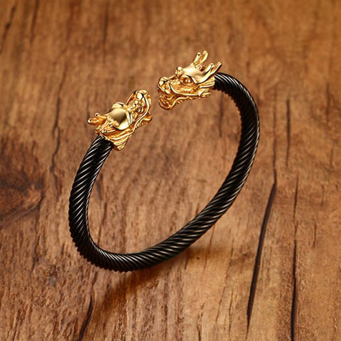 Unique Elastic Adjustable Gold Tone Dragon Head Cuff Bangle in Black Stainless Steel Twisted Cable Bracelet for Men Jewelry