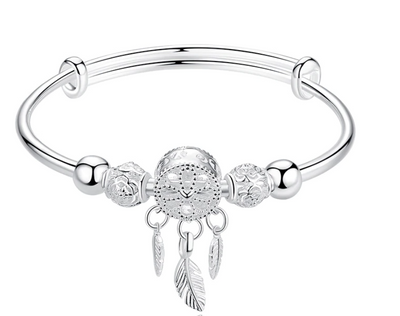 Silver Feather Round Bead Charm Bracelet