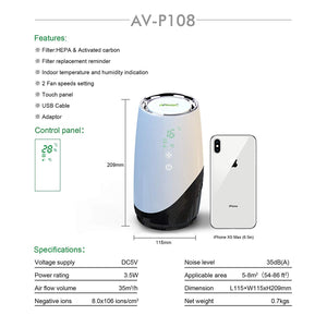 Arovec AV-P108 Desktop HEPA Air Purifier