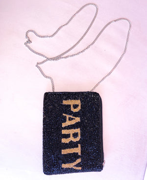 "Beaded ""PARTY"" Clutch"