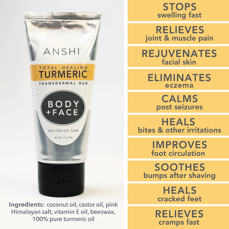 On-The-Go Tube - Total Healing Turmeric | Body & Face | Powerful Relief & Renewal with 10+ Ways to Use - Wet or Dry!