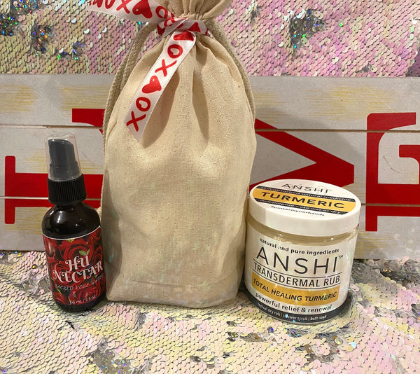 Lovers Pairing Gift Set with Tote - ANSHI Turmeric + Hu Nector Sacred Rose Water - Medium or Large