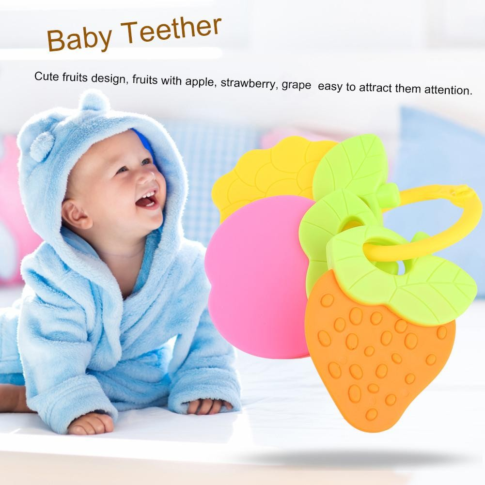 kids Baby Teether Food Grade Silicone Pacifier Teething Chewable Car Shape Toy