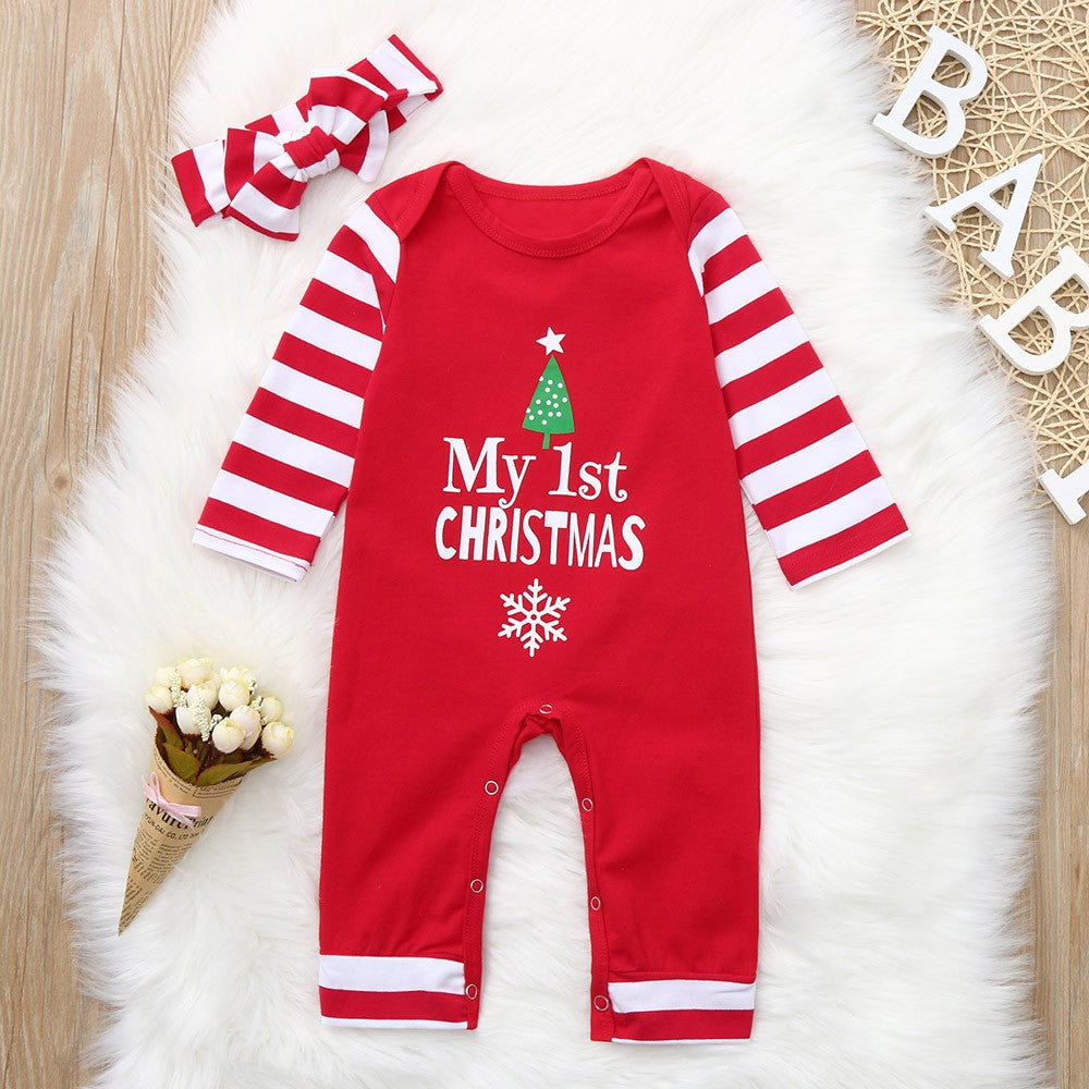 01c460a5e Infant Baby Christmas Letter Print Striped Jumpsuit Romper+Headband Outfit