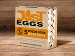 JUST EGGS - 5 DOZEN (MEDIUM AND BIGGER)