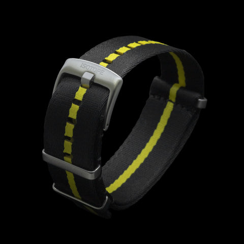 Black/Yellow seatbelt Nato strap