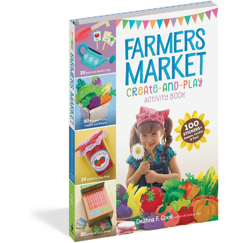 100 Stickers Farmers Market Create-and-Play Activity Book Games Crafts /& Fun!