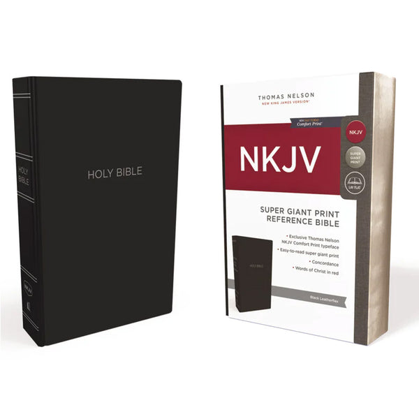 NKJV Super Giant Print Reference Bible (Black Leatherflex) by Thomas Nelson