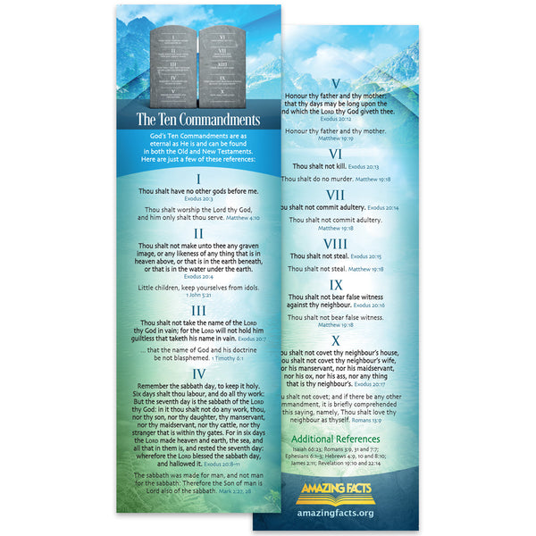 Ten Commandments Bookmark (25/Pack) by Amazing Facts