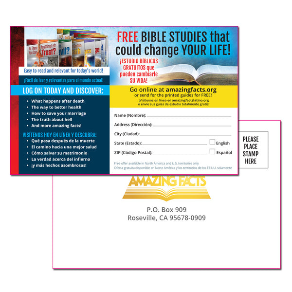 Bilingual (Spanish & English) Bible School Enrollment Card Handout Version (50/pad) by Amazing Facts