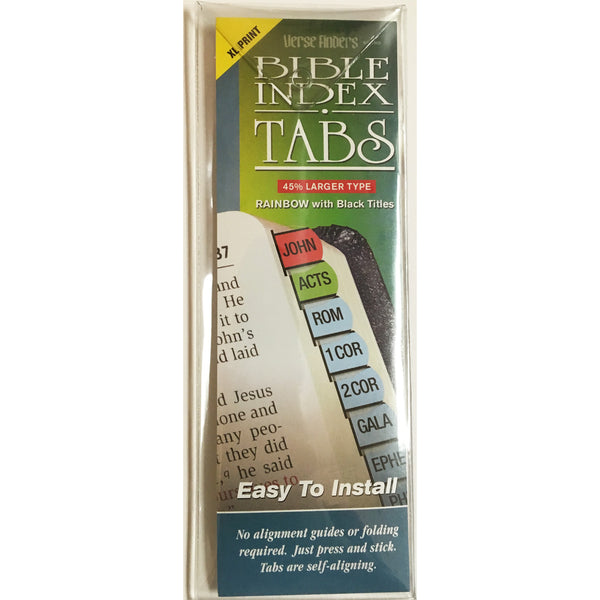 Bible Index Tabs (XL Print): Rainbow with Black Titles by GT Luscombe
