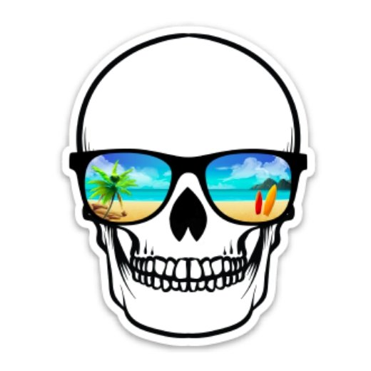 Island Skully Decal - Rad Girl Creations