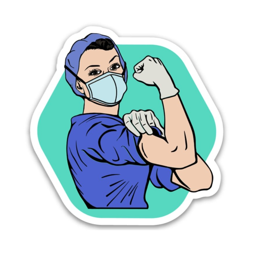 Rosie the Medical Professional Decal - Blue Scrubs - Rad Girl Creations