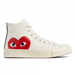 Converse x CDG red heart high-top sneakers in white – 4XS
