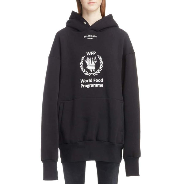 Balenciaga World Food Programme Fleece Hoodie In Black 4xs