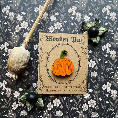 Wooden Pumpkin Pin