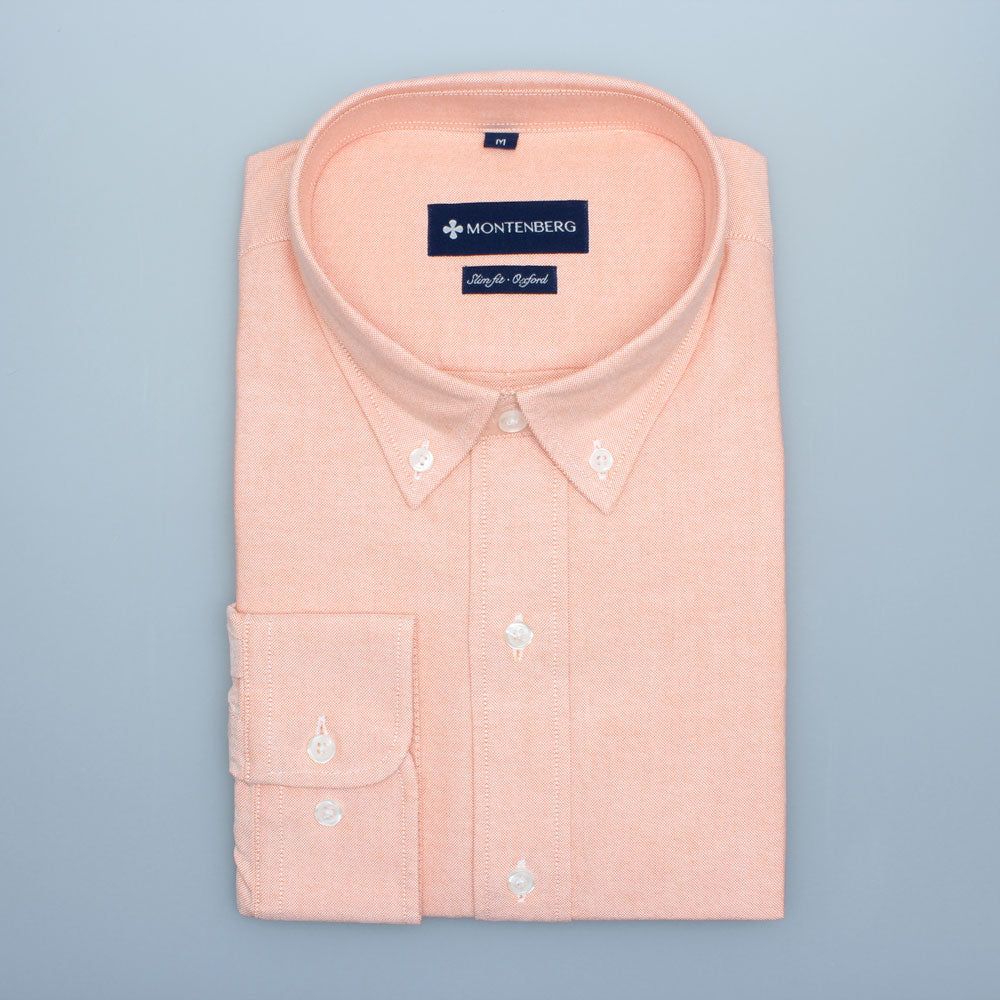 Orange Skjorta Enfärgad Oxford Långärmad Slim fit