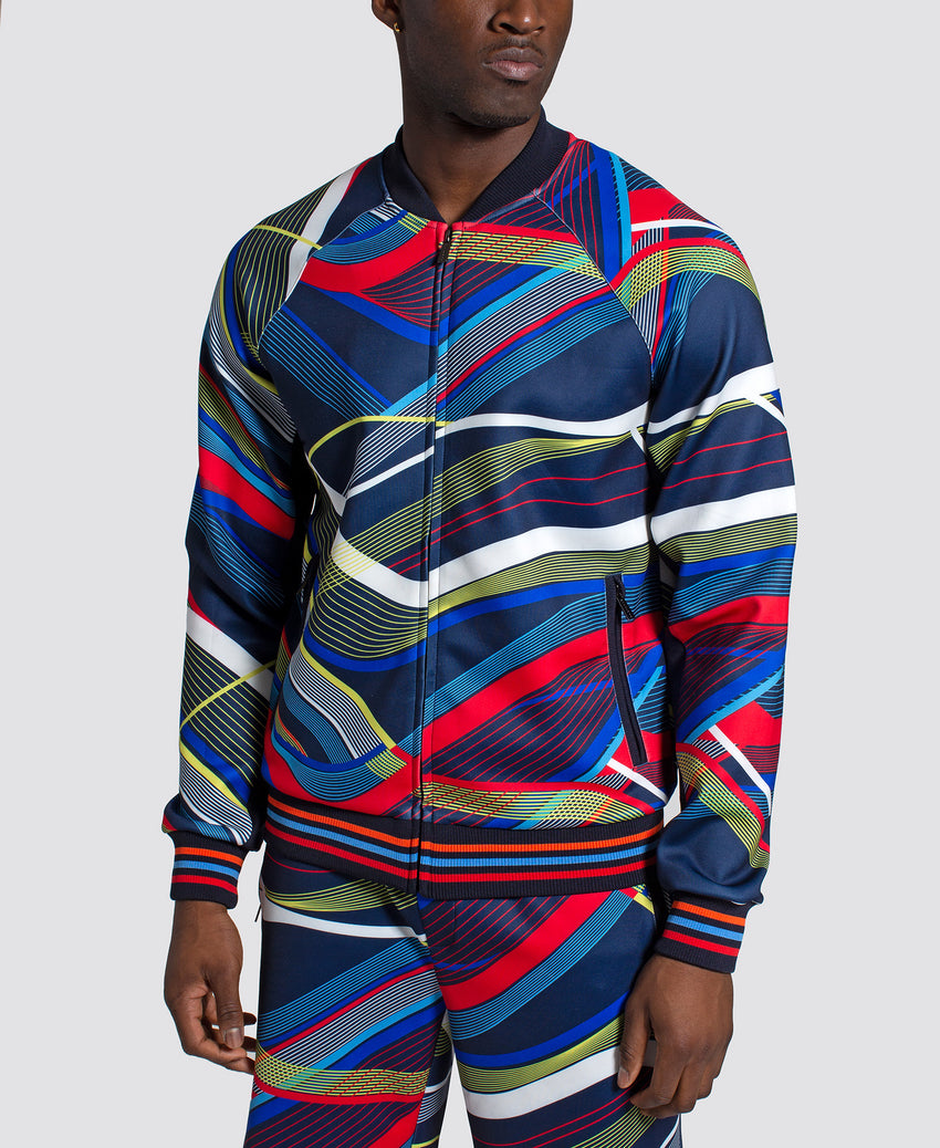 All Over Curve Print Track Jacket