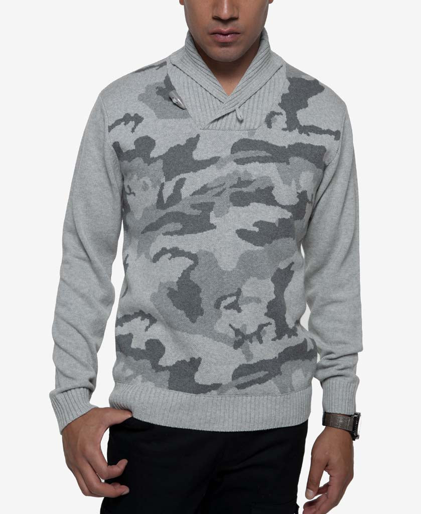 Camo Shawlneck Sweater