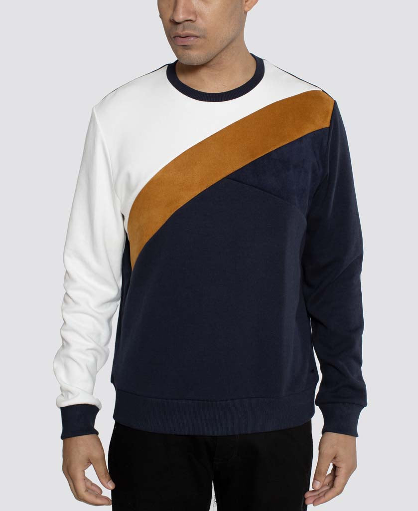 Color Texture Block Crew Neck Sweatshirt