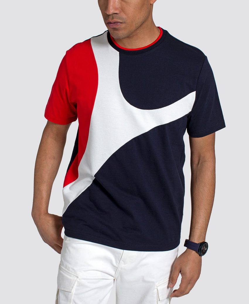 Short Sleeve Curved Color Blocked Tee