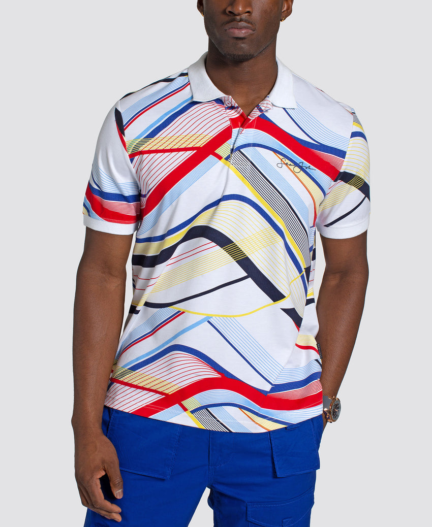 Short Sleeve Curved Lines Printed Polo