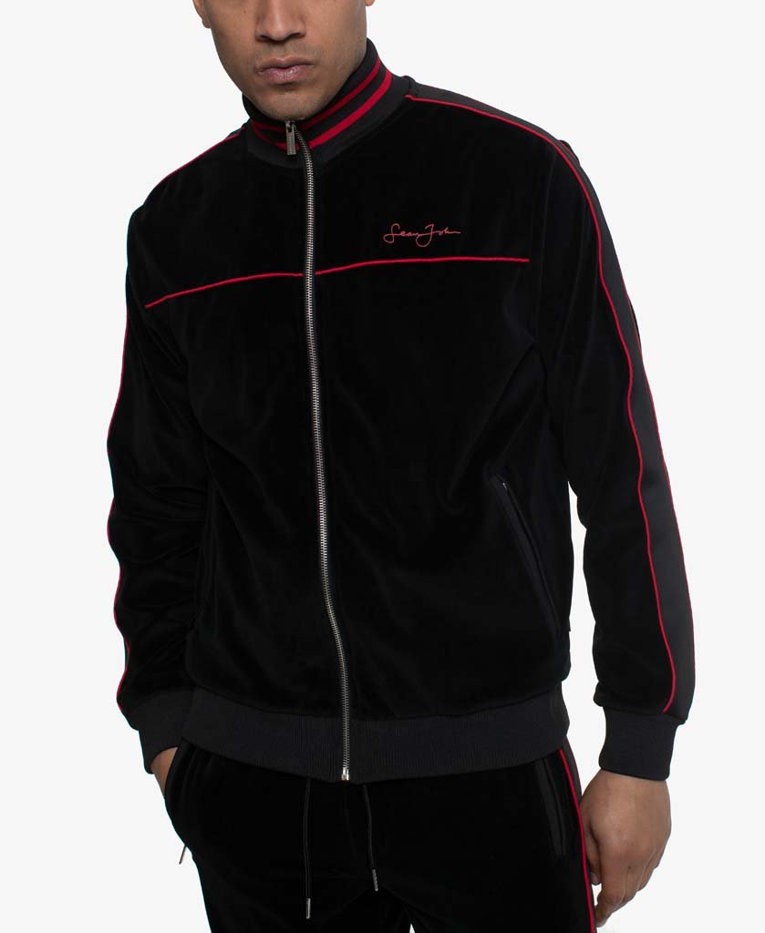 Velour track jacket with piping