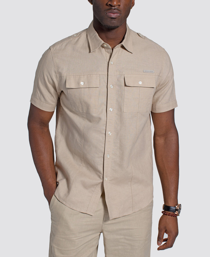 Short Sleeve Flight Linen Shirt