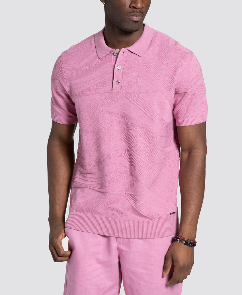 Short Sleeve Jacquard Curve Lines Sweater Polo