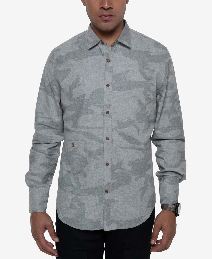 Long Sleeve  Camo Pieced Shirt